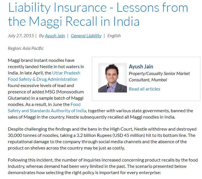 Case Study : Business Liability InsuranceMaggi Noodles India