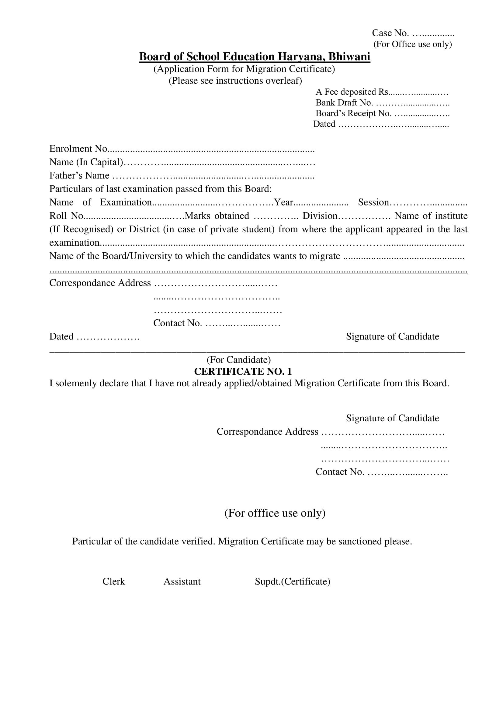 Migration Certificate Haryana Open School